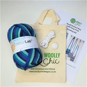 Woolly Chic Frosty Blues Small Cross-Body Handbag Knitting Kit
