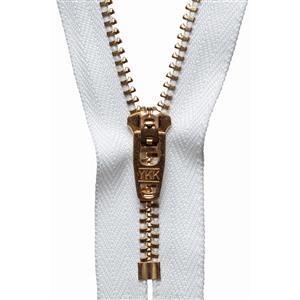 Brass Jeans Zip White 18cm