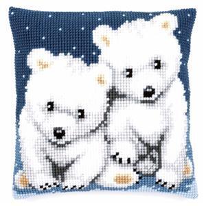 Polar Bears Needlepoint Cushion Kit