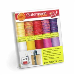 Gutermann Deco Stitch 70 Thread Set Assorted Colours Pack1 10 x 70m