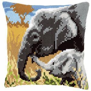 Elephants Needlepoint Cushion Kit