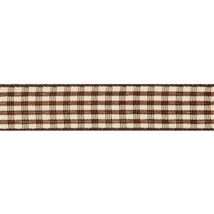 Chocolate & Tan Gingham Ribbon 4m x 15mm