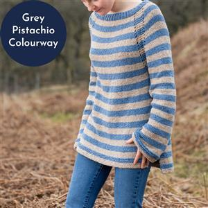Wool Couture Grey/Pistachio Rosie Jumper Knitting Kit: Large/Xlarge