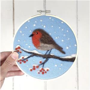 The Crafty Kit Company Robin in a Hoop Needle Felt Kit