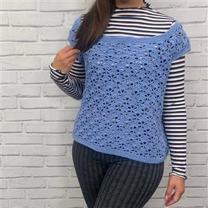Marriner Smokey Blue Short Sleeved Crochet Top Kit