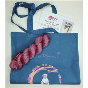 Woolly Chic Raspberry HeartSpun Shawl Kit