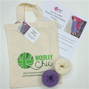 Woolly Chic Purple/White Fingerless Mitts Kit