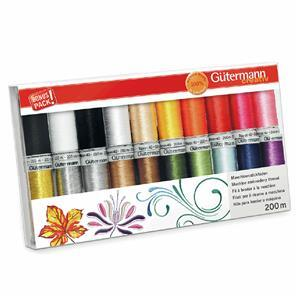 Gutermann Rayon Metallic & Bobbin Thread set 20 x 200m