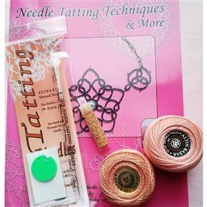 Tatting and Design Peach Needle Tatting Kit With Beads