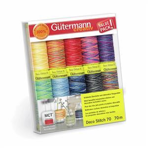 Gutermann Deco Stitch 70 Thread Set Assorted Colours Pack3 10 x 70m