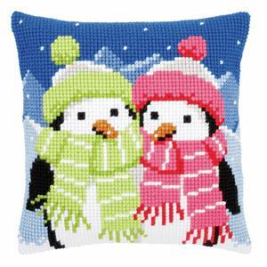 Winter Penguins Needlepoint Cushion Kit
