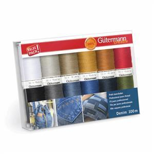 Gutermann Denim Thread Set Assorted Colours 12 x 100m