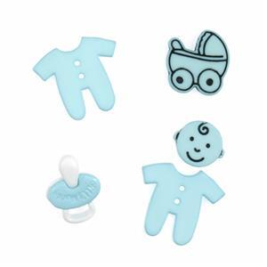 Novelty Baby Blue Buttons Pack of 5