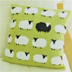 iKnit Designs Green Fluffy Flock of Sheep Cushion Kit