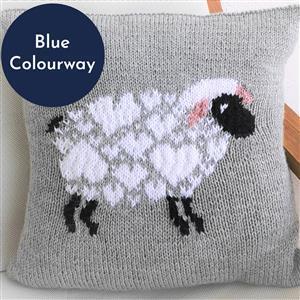 iknit Designs Blue I Love Sheep Cushion Kit