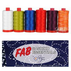 Aurifil Sashiko Essential Thread Pack of 6 Large Spools. Save £5