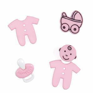Novelty Baby Pink Buttons Pack of 5