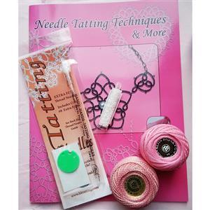 Tatting and Design Pink Needle Tatting Kit With Beads