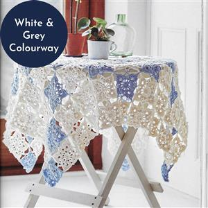 White/Grey Vintage Lace Throw Granny Squares Yarn Pack