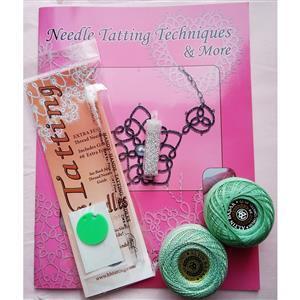 Tatting and Design Green Needle Tatting Kit With Beads