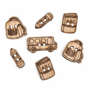 Wooden Buttons School Pack of 7