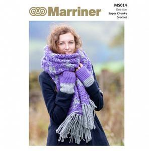 Marriner Crochet Blanket Scarf and Mitts  Knitting Pattern