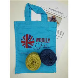 Woolly Chic Fern Green and Denim Blue Helix Cowl Kit