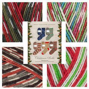 Winwick Mum Christmas Socks Kit: Pattern  Book & 4 x 100g balls of Christmas Yarn SAVE 10%