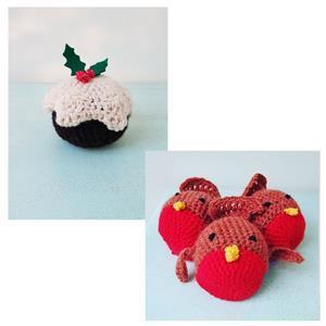 Woolly Chic Robin kit and Christmas Pudding kit bundle