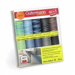 Gutermann Deco Stitch 70 Thread Set Assorted Colours Pack2 10 x 70m