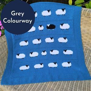 iknit Designs Grey Aran Flock of Sheep Blanket/Throw Kit