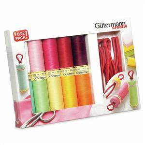 Gutermann Sew-All Thread Set 10 x 100m plus 10 Bobbin Clips