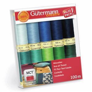Gütermann Sew-All Thread Set Blue & Green Colours Pack 10 x 100m