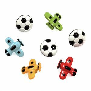 Football & Plane Buttons Pack of 7