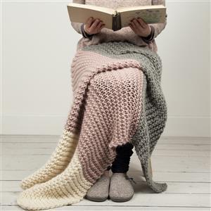 Wool Couture Mink/Cream/Grey Hannah's Blanket Knitting Kit