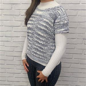 Marriner  White/Grey Short Sleeved Lacy Top Kit
