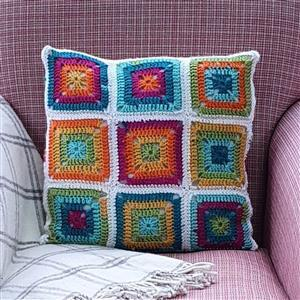 Woolly Chic Prism Brights Granny Square & Stripe Cushion Kit