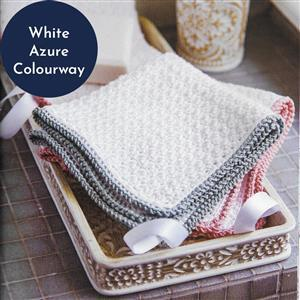 White/Azure Seed Stitch Facecloth Pair Yarn Pack