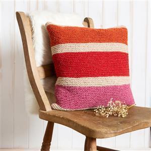 Wool Couture Rainbow Cushion in Wheat/Pumpkin/Cranberry & Rhubarb Kit