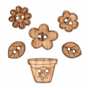 Wooden Buttons Spring Pack Of 6