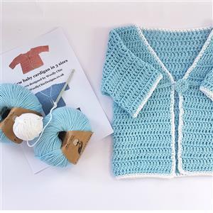 Woolly Chic Blue No Sew Baby Cardigan Crochet Kit