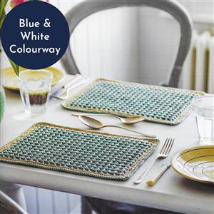 Blue/White Waffle Stitch Pair of Tablemats Yarn Pack