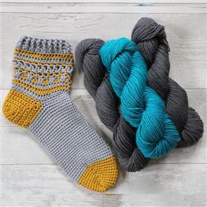 Anna Nikipirowicz Jade/Grey Totton Crochet Socks Kit