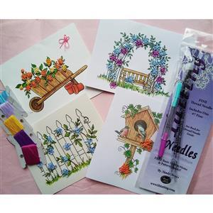 Tatting and Design In The Garden Needle Tatting Greetings Cards Kit
