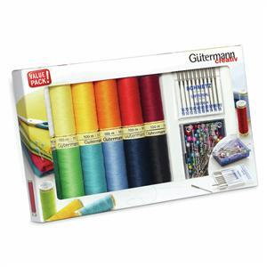 Gutermann Sew-All Thread Set 12x100m & Universal Machine Needles & Pins