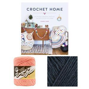 Crochet Home Book by Emma Lamb: with 2 x 57g of Cotton Aran Yarn FREE