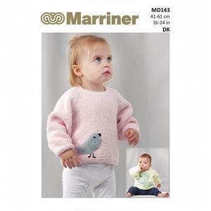 Marriner Bird & Dino Motif Baby Jumper Knitting Pattern