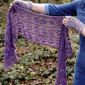 Woolly Chic Purple Harmony of Leaves Scarf Kit