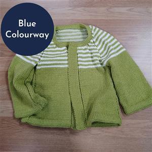 Marriner Blue Striped Yoke Cardigan Knitting Kit