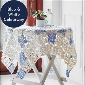 White/Blue Vintage Lace Throw Granny Squares Yarn Pack